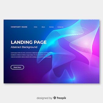 Modello di pagina di atterraggio di forme lineari astratte