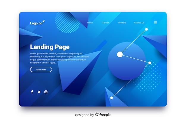 Modello di pagina di atterraggio gradiente astratto
