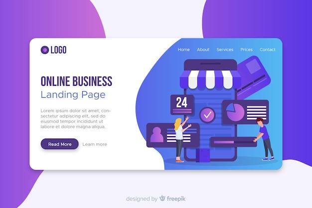 Modello di pagina di business online con foto