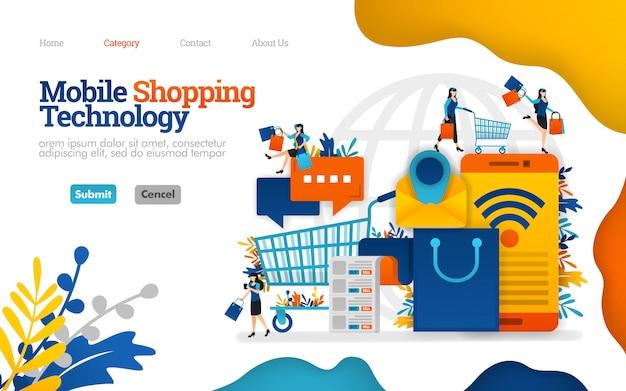 Modello di pagina di destinazione. aiuto mobile che gestisce lo shopping e le necessità quotidiane, illustrazione vettoriale