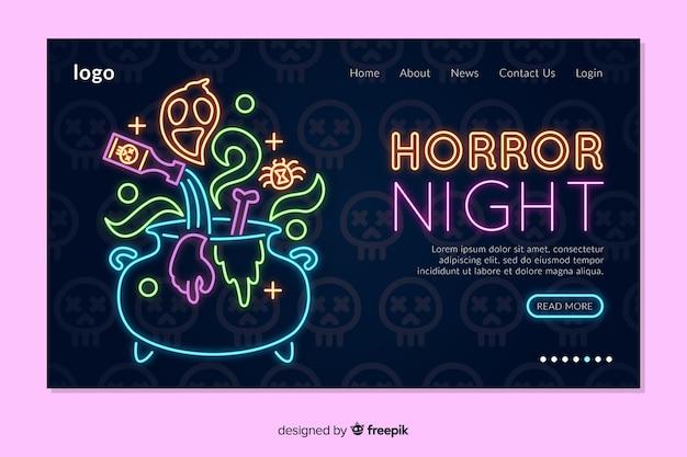 Modello di pagina di destinazione al neon di halloween