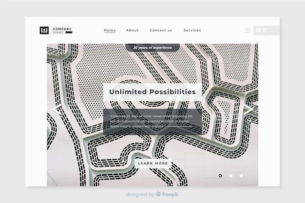 Modello di pagina di destinazione aziendale con foto