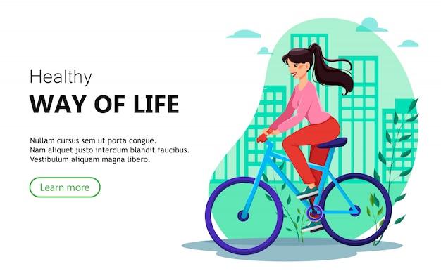 Modello di pagina di destinazione. bella donna in sella a una bicicletta