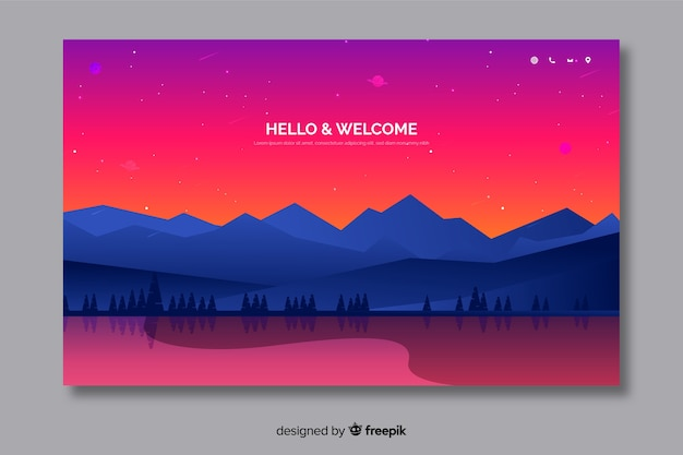 Modello di pagina di destinazione benvenuto con paesaggio