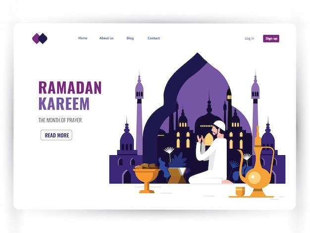 Modello di pagina di destinazione bianca del mese sacro di preghiera, ramadan kareem.