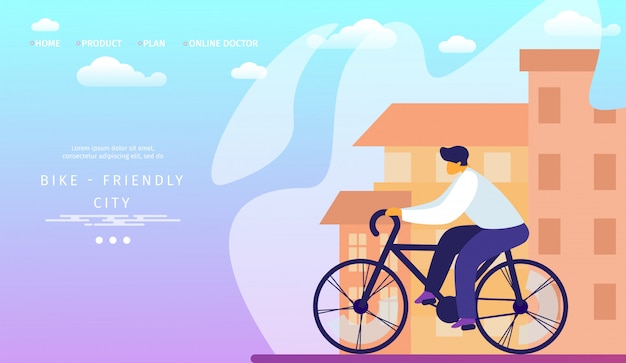 Modello di pagina di destinazione. bike friendly city. man riding and travel bicycle.