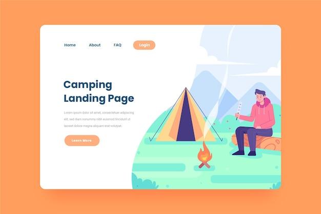 Modello di pagina di destinazione campeggio con tenda e uomo