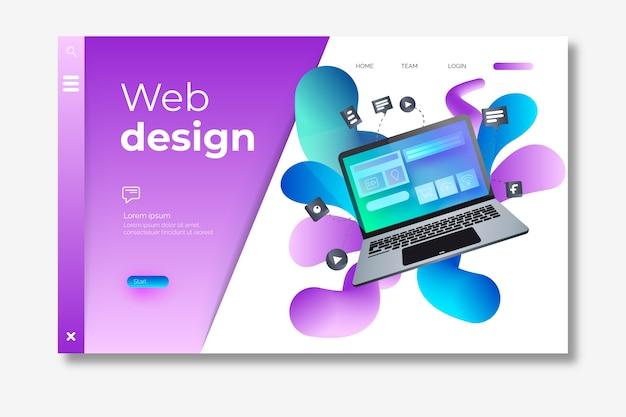Modello di pagina di destinazione con computer portatile isometrico