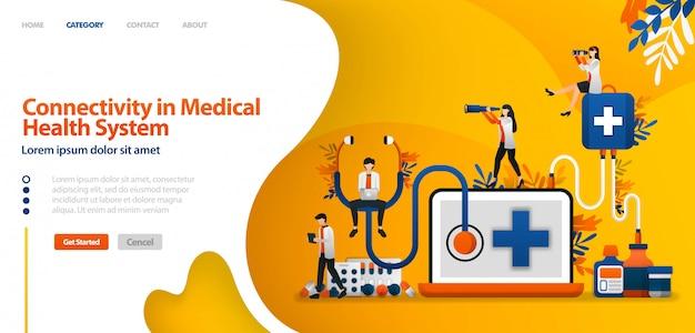 Modello di pagina di destinazione con connettività nel sistema sanitario. software nel servizio della droga e storia del paziente illustrazione di vettore per il sito web
