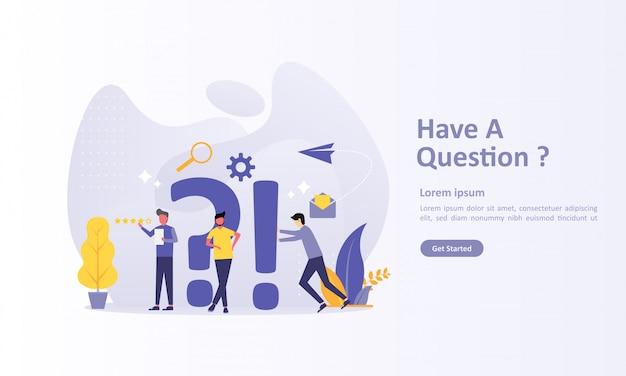 Modello di pagina di destinazione con domande con carattere