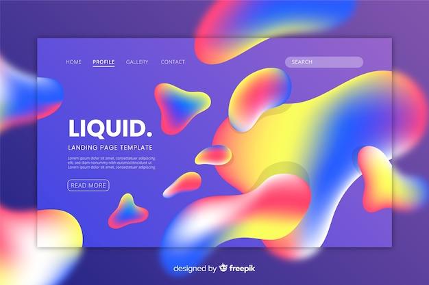 Modello di pagina di destinazione con forme liquide