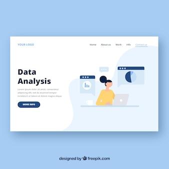 Modello di pagina di destinazione con il concetto di analisi dei dati