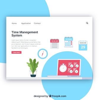 Modello di pagina di destinazione con il concetto di gestione del tempo