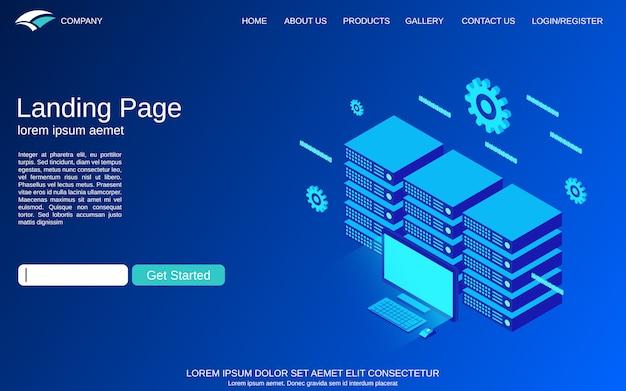 Modello di pagina di destinazione con illustrazione di concetto di vettore del server web