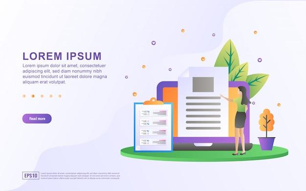 Modello di pagina di destinazione con illustrazione di una donna d'affari che controlla la completezza dei documenti