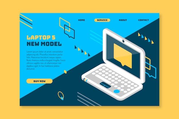 Modello di pagina di destinazione con laptop