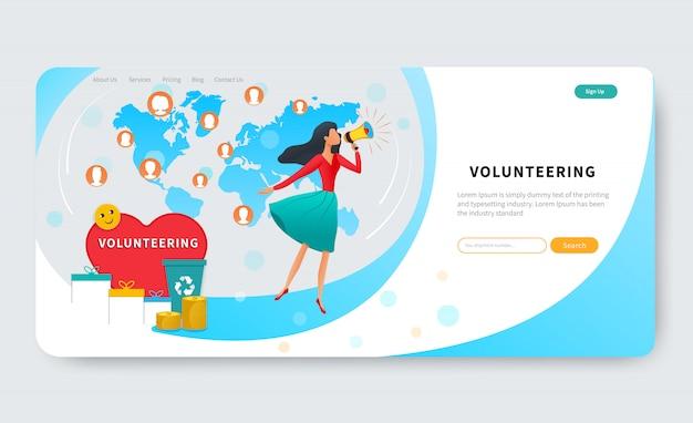 Modello di pagina di destinazione con megafono volontario donna in possesso, richiedere il supporto della comunità