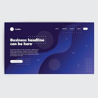Modello di pagina di destinazione con pagina web moderna sfumatura blu