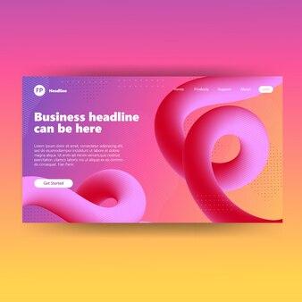 Modello di pagina di destinazione con sfondo fluido rosa colorato