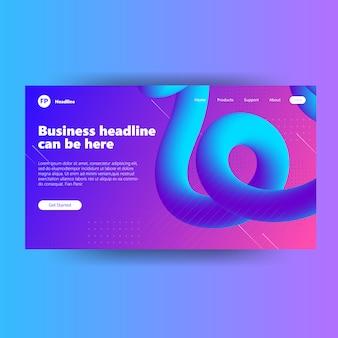 Modello di pagina di destinazione con sito web blu viola a colori fluidi