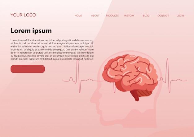 Modello di pagina di destinazione con un cervello