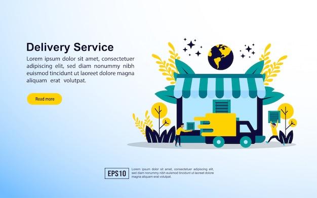 Modello di pagina di destinazione. concetto di consegna online.