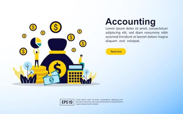 Modello di pagina di destinazione. concetto di contabilità processo organizzativo, analisi, ricerca, pianificazione