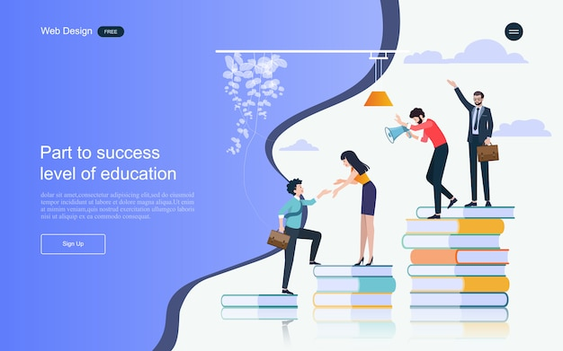 Modello di pagina di destinazione. concetto di educazione per l'apprendimento, la formazione e i corsi online.