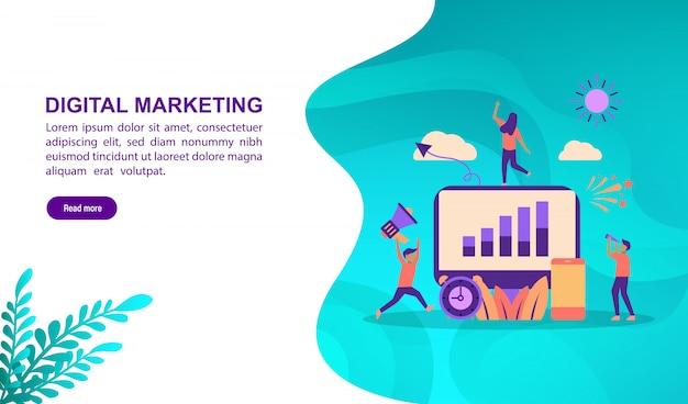 Modello di pagina di destinazione, concetto di illustrazione vettoriale di marketing digitale con carattere.