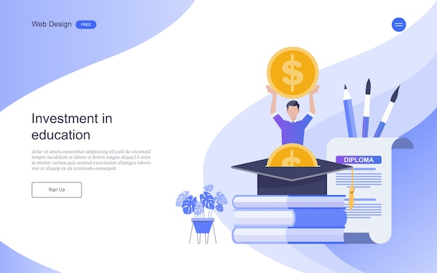 Modello di pagina di destinazione. concetto di investimento per l'istruzione, formazione e corsi online.