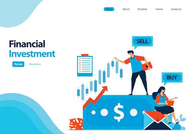 Modello di pagina di destinazione degli investimenti finanziari in azioni e obbligazioni. risparmi su fondi comuni di investimento e depositi ad alto interesse per aumentare il capitale.