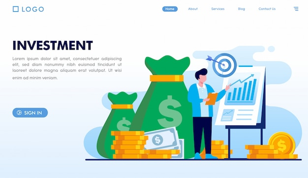 Modello di pagina di destinazione degli investimenti