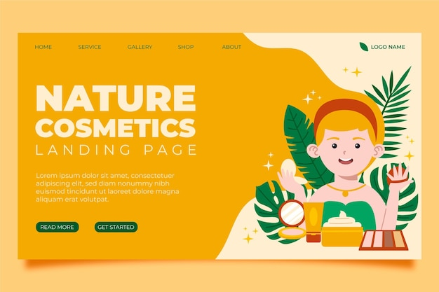 Modello di pagina di destinazione dei cosmetici naturali