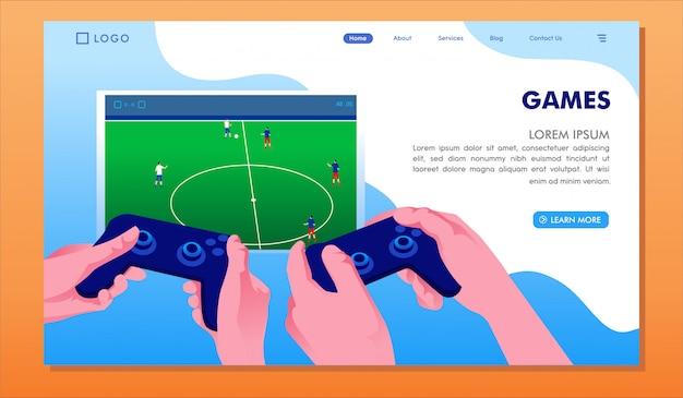 Modello di pagina di destinazione dei giochi