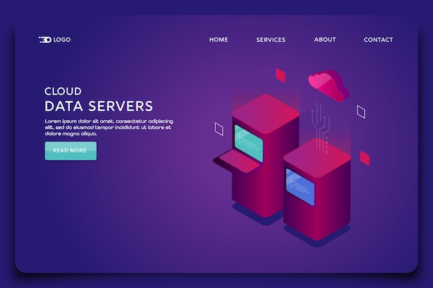 Modello di pagina di destinazione dei server di dati