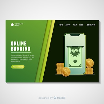 Modello di pagina di destinazione del banking online