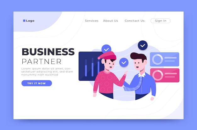 Modello di pagina di destinazione del business partner per lo sviluppo di web e app