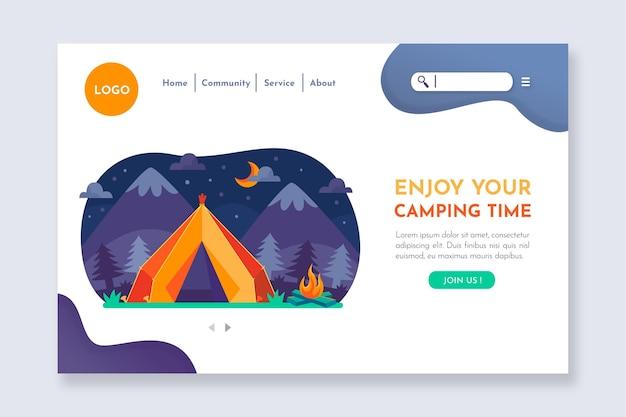 Modello di pagina di destinazione del campeggio illustrato