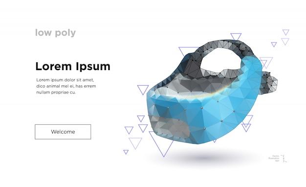 Modello di pagina di destinazione del casco di realtà virtuale low poly