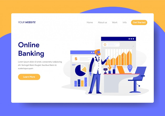 Modello di pagina di destinazione del concetto di attività bancarie online