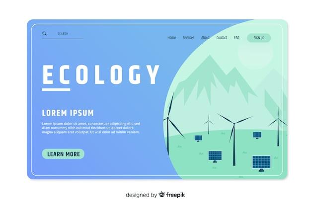 Modello di pagina di destinazione del concetto di ecologia