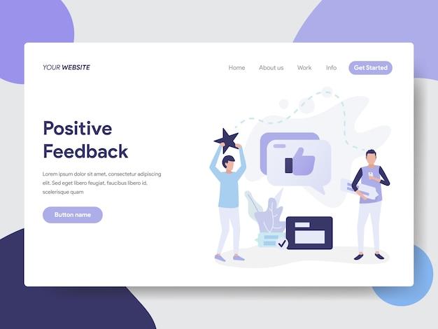 Modello di pagina di destinazione del concetto di illustrazione di feedback positivo