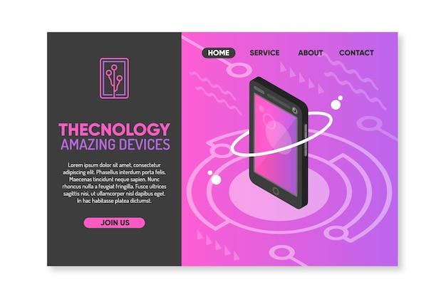 Modello di pagina di destinazione del concetto di tecnologia