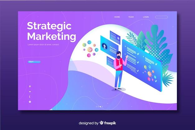Modello di pagina di destinazione del marketing isometrico