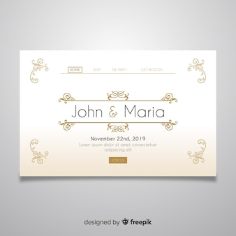 Modello di pagina di destinazione del matrimonio d'oro