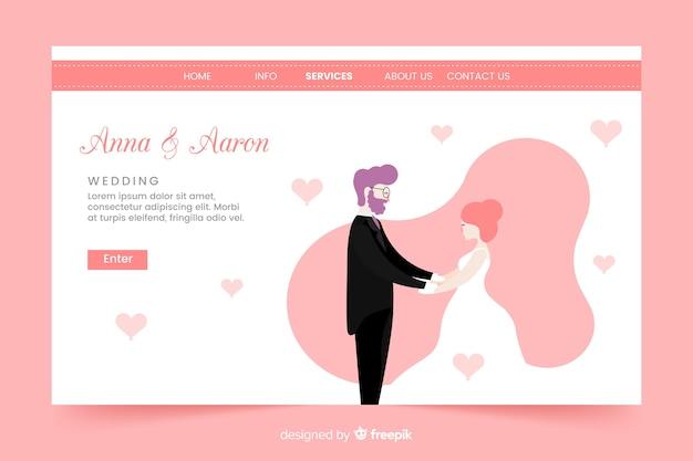 Modello di pagina di destinazione del matrimonio di design piatto