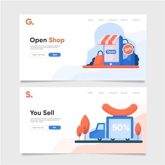 Modello di pagina di destinazione del negozio aperto