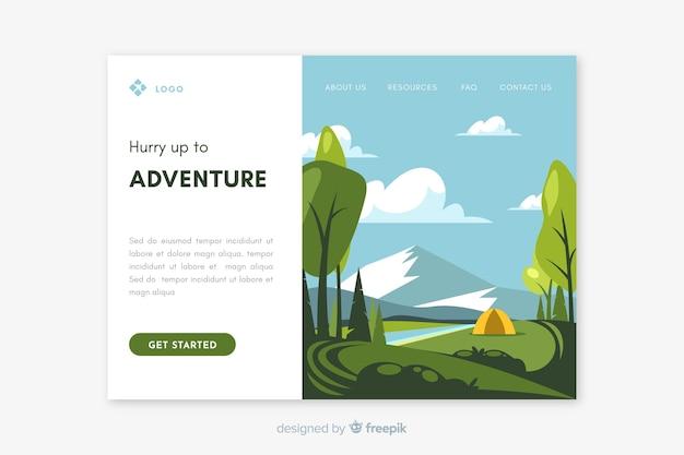 Modello di pagina di destinazione del paesaggio di viaggio