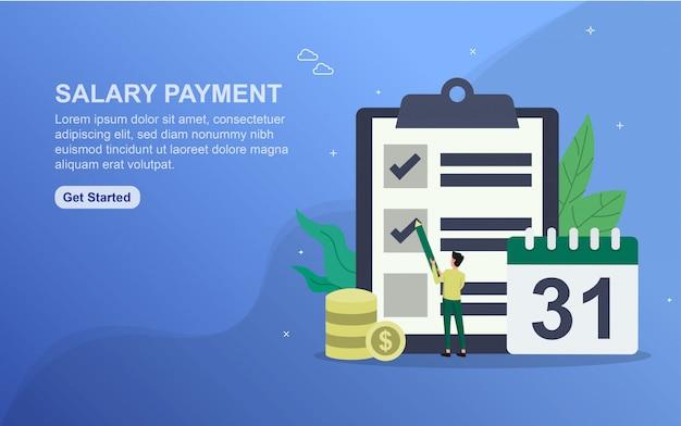 Modello di pagina di destinazione del pagamento salariale. concetto di design piatto di progettazione di pagine web per sito web.