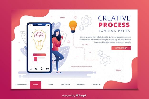 Modello di pagina di destinazione del processo di creatività